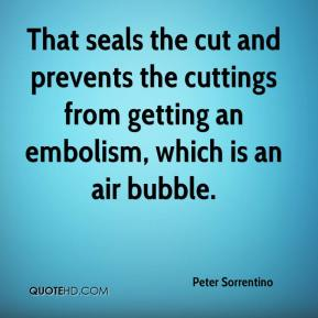 Peter Sorrentino  - That seals the cut and prevents the cuttings from getting an embolism, which is an air bubble.