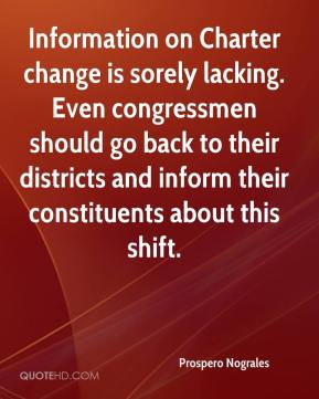 Prospero Nograles  - Information on Charter change is sorely lacking. Even congressmen should go back to their districts and inform their constituents about this shift.