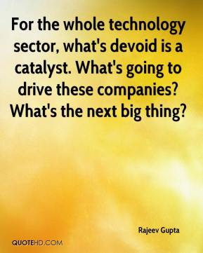 Rajeev Gupta  - For the whole technology sector, what's devoid is a catalyst. What's going to drive these companies? What's the next big thing?
