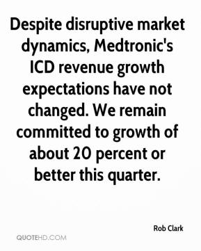 Rob Clark  - Despite disruptive market dynamics, Medtronic's ICD revenue growth expectations have not changed. We remain committed to growth of about 20 percent or better this quarter.