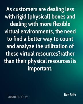 Ron Riffe  - As customers are dealing less with rigid [physical] boxes and dealing with more flexible virtual environments, the need to find a better way to count and analyze the utilization of these virtual resources?rather than their physical resources?is important.