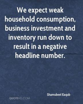 Shamubeel Eaqub  - We expect weak household consumption, business investment and inventory run down to result in a negative headline number.