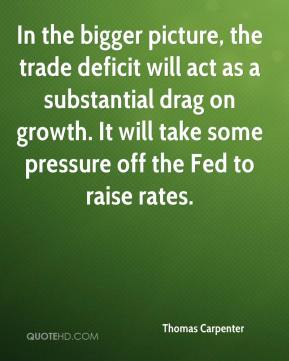Thomas Carpenter  - In the bigger picture, the trade deficit will act as a substantial drag on growth. It will take some pressure off the Fed to raise rates.