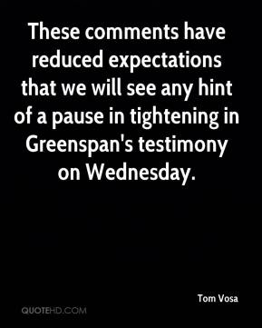 Tom Vosa  - These comments have reduced expectations that we will see any hint of a pause in tightening in Greenspan's testimony on Wednesday.