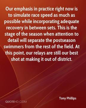 Our emphasis in practice right now is to simulate race speed as much as possible while incorporating adequate recovery in between sets. This is the stage of the season when attention to detail will separate the postseason swimmers from the rest of the field. At this point, our relays are still our best shot at making it out of district.