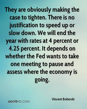 Vincent Boberski  - They are obviously making the case to tighten. There is no justification to speed up or slow down. We will end the year with rates at 4 percent or 4.25 percent. It depends on whether the Fed wants to take one meeting to pause and assess where the economy is going.