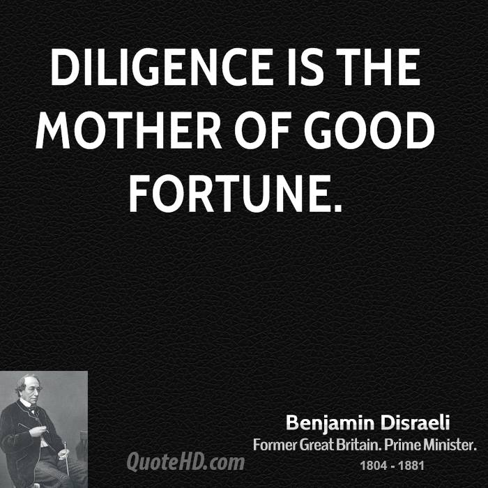 Diligence is the mother of good fortune.