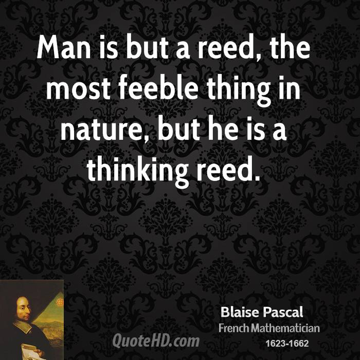 Man is but a reed, the most feeble thing in nature, but he is a thinking reed.