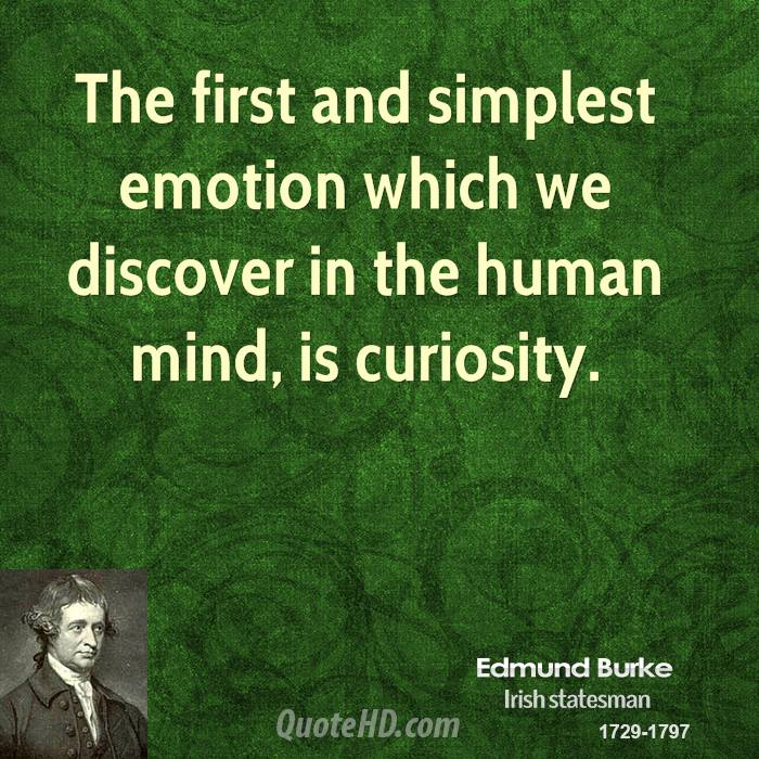 The first and simplest emotion which we discover in the human mind, is curiosity.