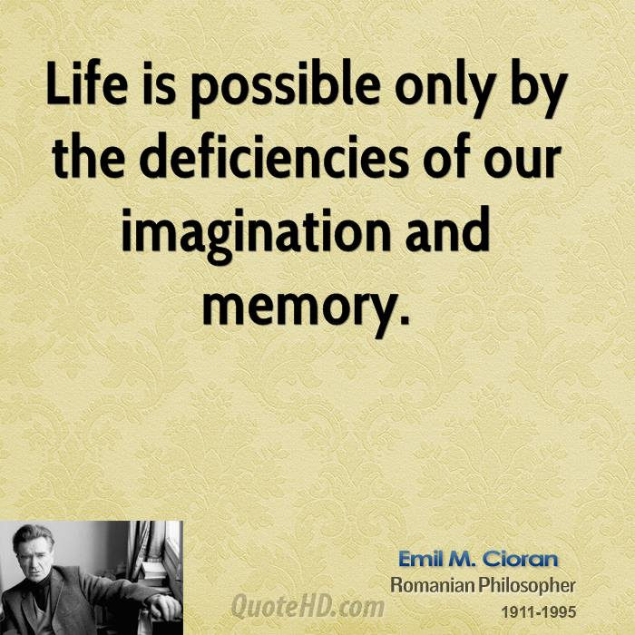 Life is possible only by the deficiencies of our imagination and memory.