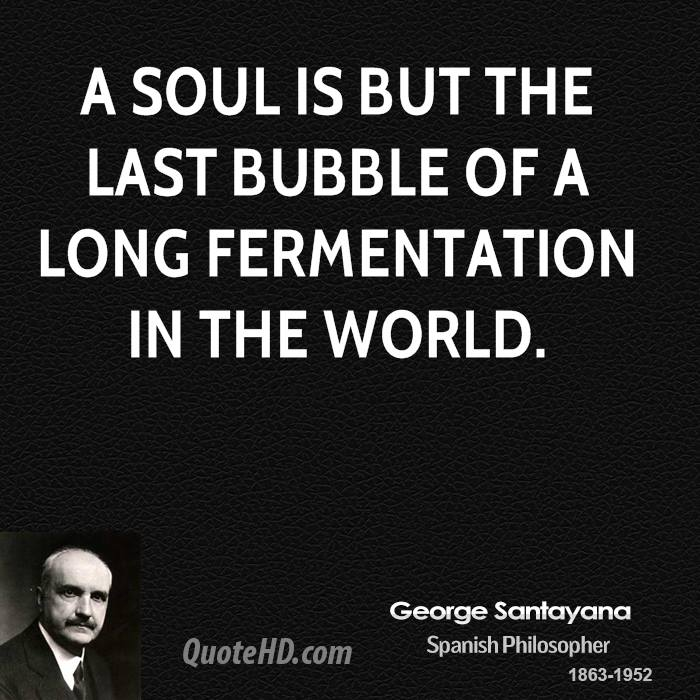 A soul is but the last bubble of a long fermentation in the world.