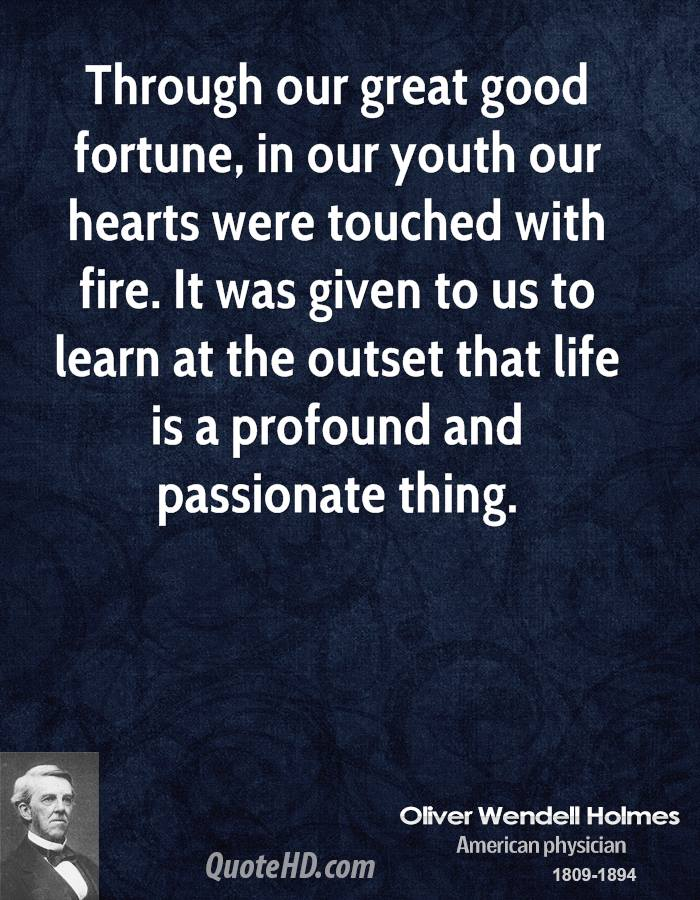 Through our great good fortune, in our youth our hearts were touched with fire. It was given to us to learn at the outset that life is a profound and passionate thing.