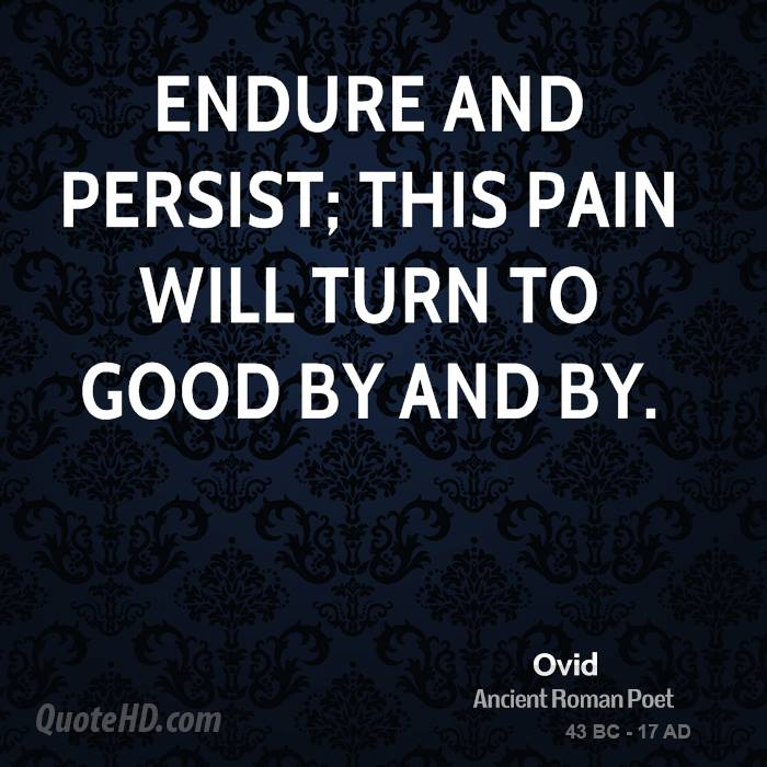 Endure and persist; this pain will turn to good by and by.