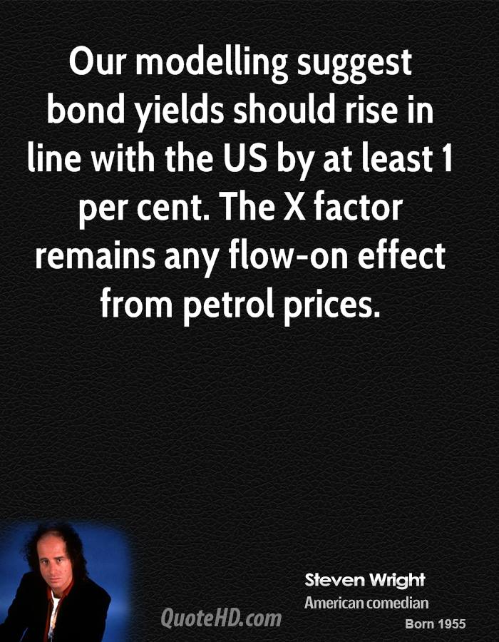 Our modelling suggest bond yields should rise in line with the US by at least 1 per cent. The X factor remains any flow-on effect from petrol prices.