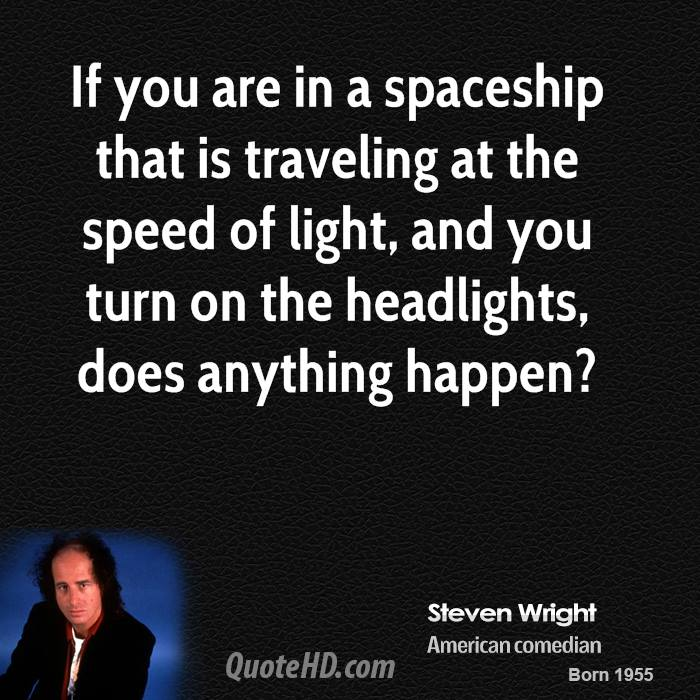 If you are in a spaceship that is traveling at the speed of light, and you turn on the headlights, does anything happen?