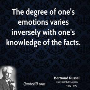 Bertrand Russell - The degree of one's emotions varies inversely with one's knowledge of the facts.