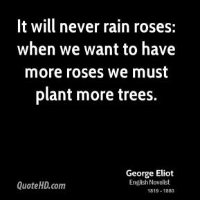 It will never rain roses: when we want to have more roses we must plant more trees.