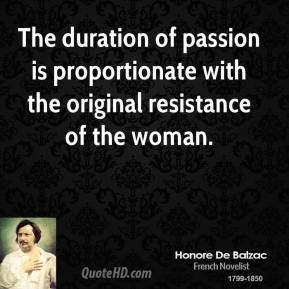 Honore de Balzac - The duration of passion is proportionate with the original resistance of the woman.