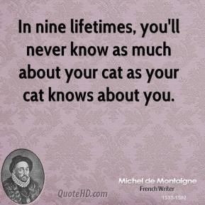 In nine lifetimes, you'll never know as much about your cat as your cat knows about you.