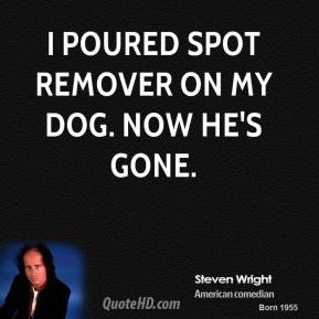 Steven Wright - I poured spot remover on my dog. Now he's gone.