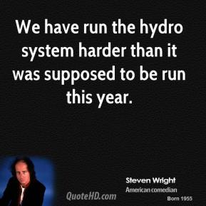 Steven Wright  - We have run the hydro system harder than it was supposed to be run this year.