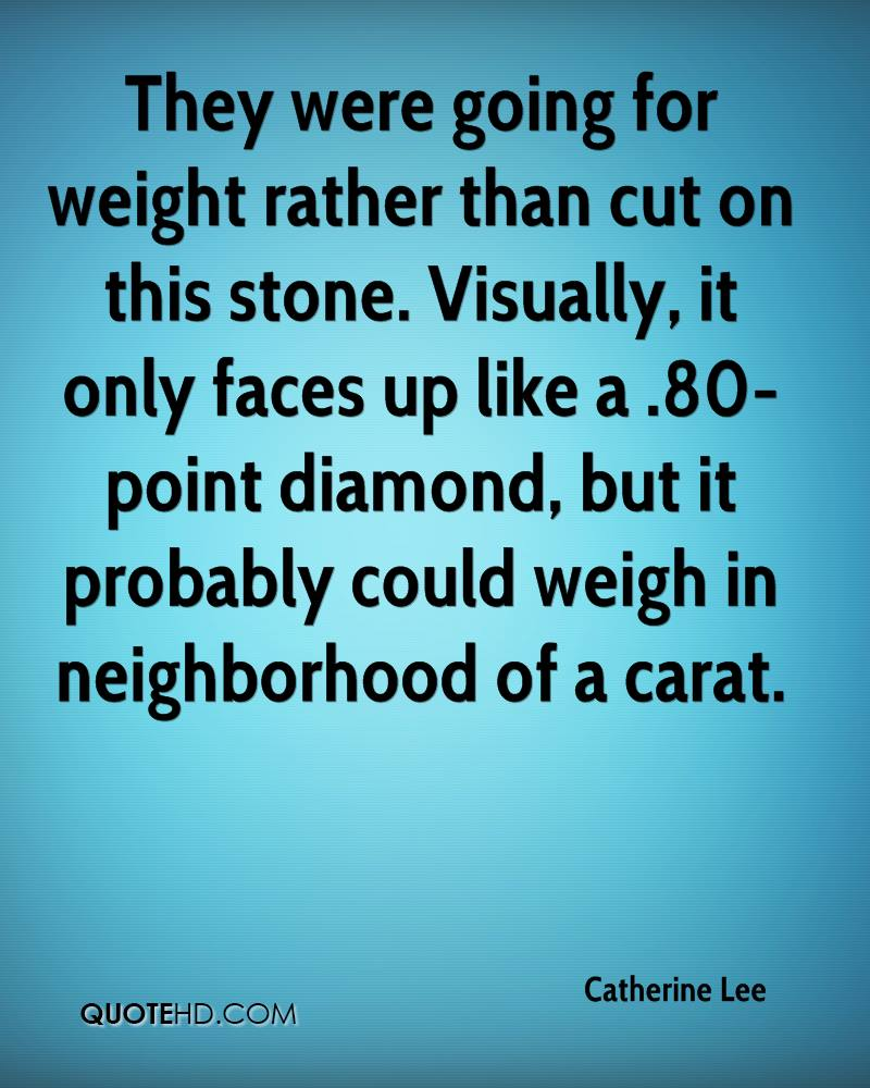 They were going for weight rather than cut on this stone. Visually, it only faces up like a .80-point diamond, but it probably could weigh in neighborhood of a carat.