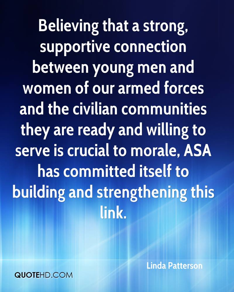 Believing that a strong, supportive connection between young men and women of our armed forces and the civilian communities they are ready and willing to serve is crucial to morale, ASA has committed itself to building and strengthening this link.