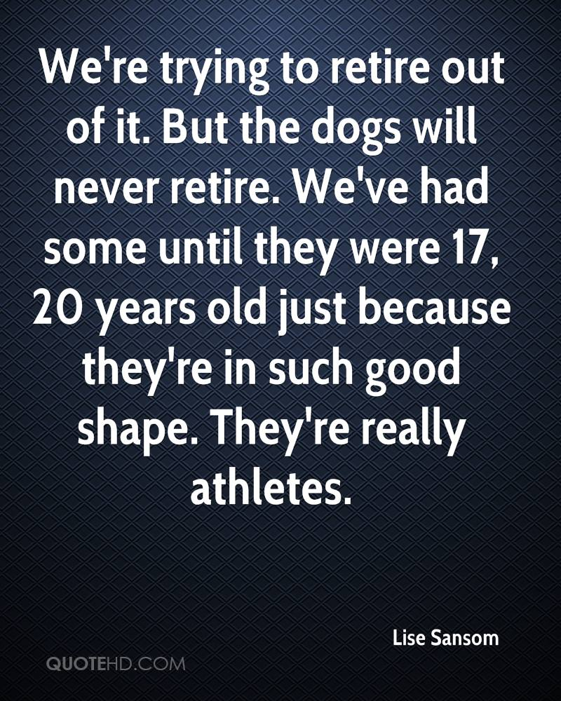 We're trying to retire out of it. But the dogs will never retire. We've had some until they were 17, 20 years old just because they're in such good shape. They're really athletes.