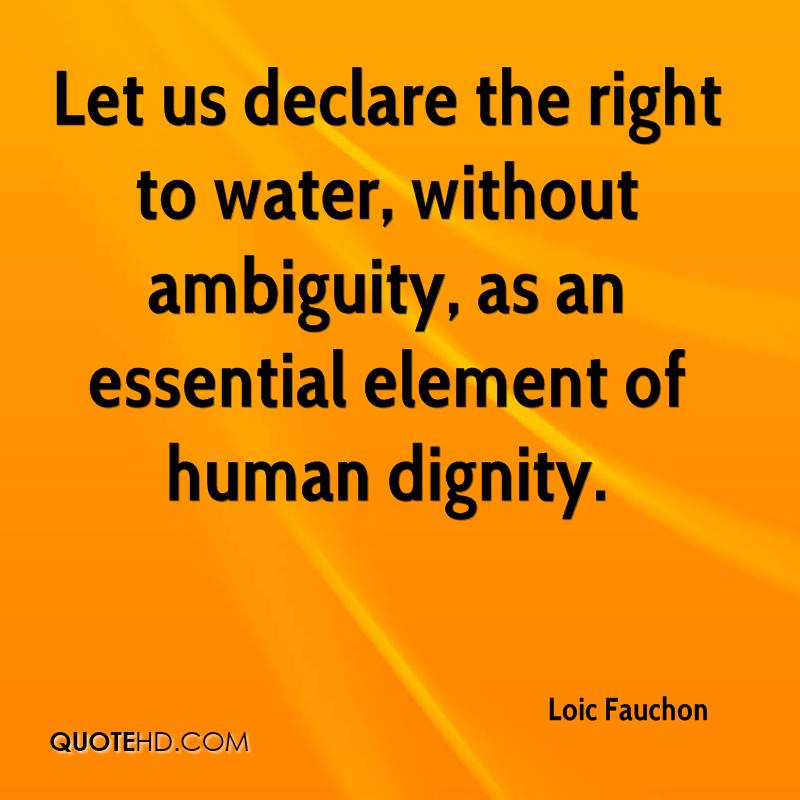 Let us declare the right to water, without ambiguity, as an essential element of human dignity.