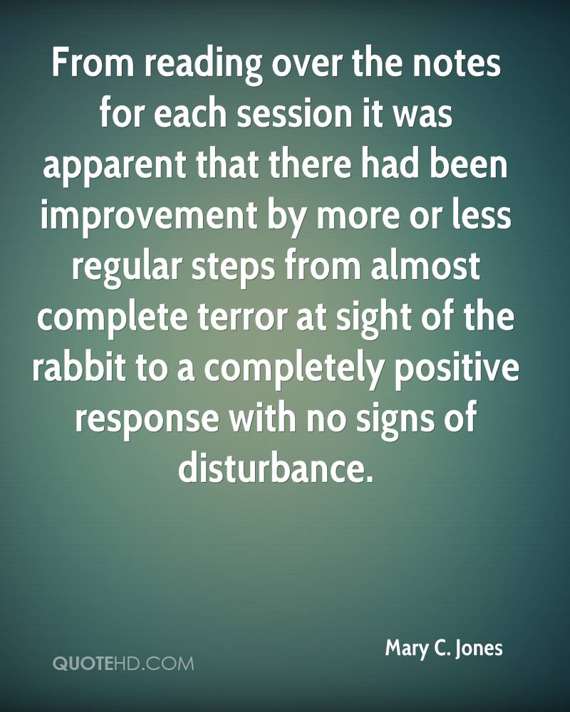 From reading over the notes for each session it was apparent that there had been improvement by more or less regular steps from almost complete terror at sight of the rabbit to a completely positive response with no signs of disturbance.