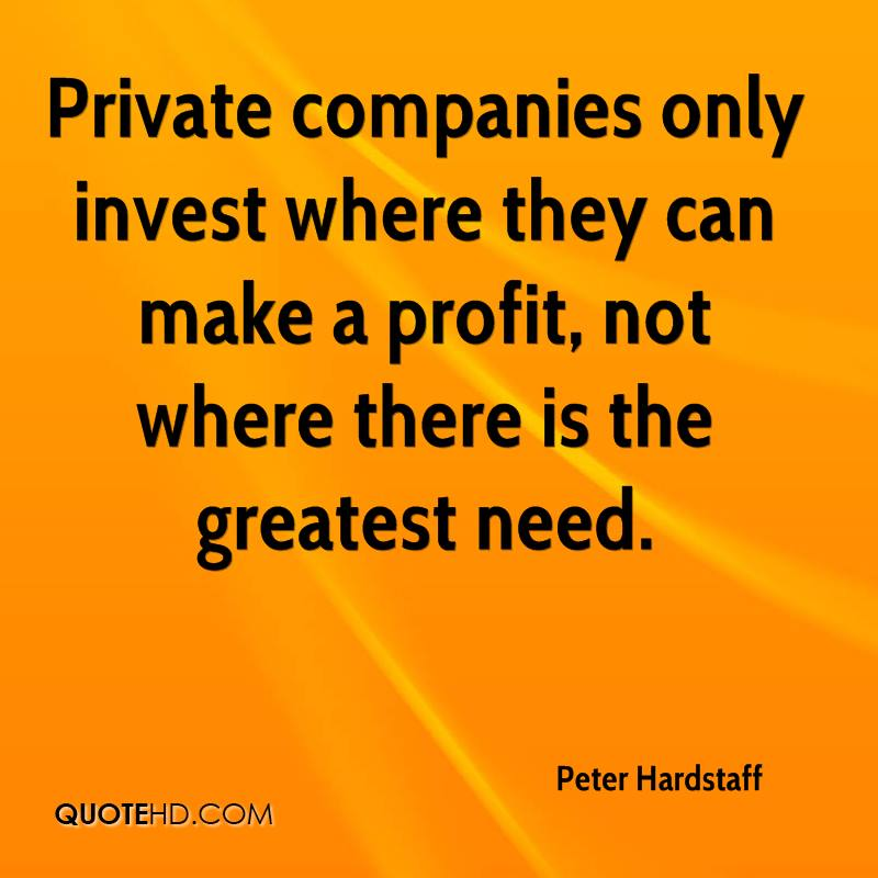 Private companies only invest where they can make a profit, not where there is the greatest need.
