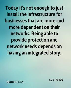Alex Thurber - Today it's not enough to just install the infrastructure for businesses that are more and more dependent on their networks. Being able to provide protection and network needs depends on having an integrated story.