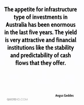 The appetite for infrastructure type of investments in Australia has been enormous in the last five years. The yield is very attractive and financial institutions like the stability and predictability of cash flows that they offer.