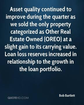 Bob Bartlett - Asset quality continued to improve during the quarter as we sold the only property categorized as Other Real Estate Owned (OREO) at a slight gain to its carrying value. Loan loss reserves increased in relationship to the growth in the loan portfolio.