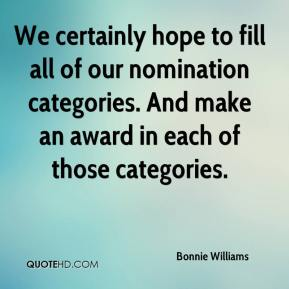 Bonnie Williams - We certainly hope to fill all of our nomination categories. And make an award in each of those categories.