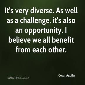 Cesar Aguilar - It's very diverse. As well as a challenge, it's also an opportunity. I believe we all benefit from each other.