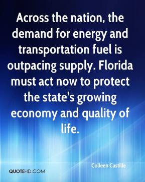 Across the nation, the demand for energy and transportation fuel is outpacing supply. Florida must act now to protect the state's growing economy and quality of life.