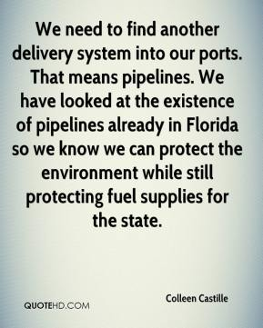 Colleen Castille - We need to find another delivery system into our ports. That means pipelines. We have looked at the existence of pipelines already in Florida so we know we can protect the environment while still protecting fuel supplies for the state.