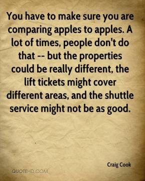 You have to make sure you are comparing apples to apples. A lot of times, people don't do that -- but the properties could be really different, the lift tickets might cover different areas, and the shuttle service might not be as good.