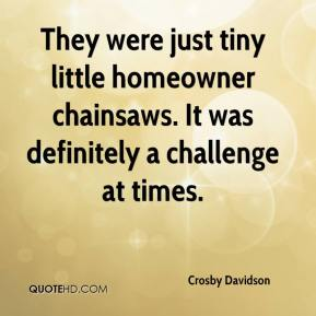 Crosby Davidson - They were just tiny little homeowner chainsaws. It was definitely a challenge at times.