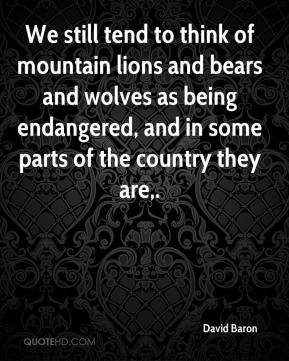 David Baron - We still tend to think of mountain lions and bears and wolves as being endangered, and in some parts of the country they are.