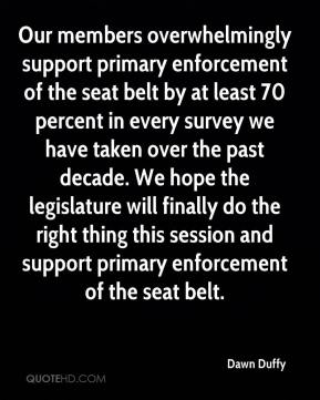 Dawn Duffy - Our members overwhelmingly support primary enforcement of the seat belt by at least 70 percent in every survey we have taken over the past decade. We hope the legislature will finally do the right thing this session and support primary enforcement of the seat belt.