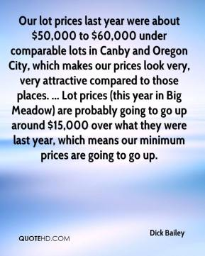 Dick Bailey - Our lot prices last year were about $50,000 to $60,000 under comparable lots in Canby and Oregon City, which makes our prices look very, very attractive compared to those places. ... Lot prices (this year in Big Meadow) are probably going to go up around $15,000 over what they were last year, which means our minimum prices are going to go up.