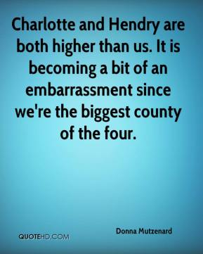 Donna Mutzenard - Charlotte and Hendry are both higher than us. It is becoming a bit of an embarrassment since we're the biggest county of the four.
