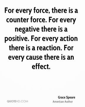 For every force, there is a counter force. For every negative there is a positive. For every action there is a reaction. For every cause there is an effect.