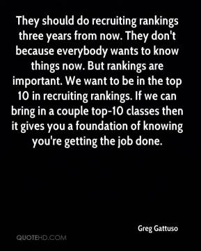 Greg Gattuso - They should do recruiting rankings three years from now. They don't because everybody wants to know things now. But rankings are important. We want to be in the top 10 in recruiting rankings. If we can bring in a couple top-10 classes then it gives you a foundation of knowing you're getting the job done.