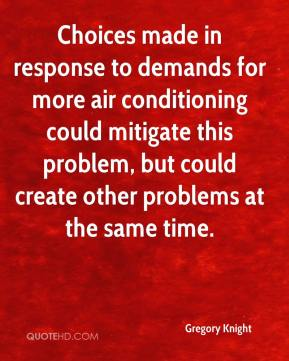 Gregory Knight - Choices made in response to demands for more air conditioning could mitigate this problem, but could create other problems at the same time.