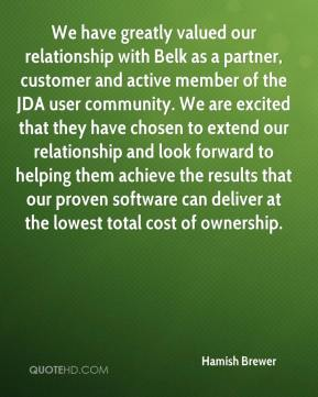 We have greatly valued our relationship with Belk as a partner, customer and active member of the JDA user community. We are excited that they have chosen to extend our relationship and look forward to helping them achieve the results that our proven software can deliver at the lowest total cost of ownership.