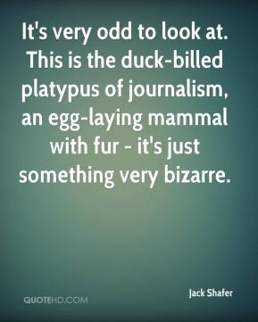 Jack Shafer - It's very odd to look at. This is the duck-billed platypus of journalism, an egg-laying mammal with fur - it's just something very bizarre.