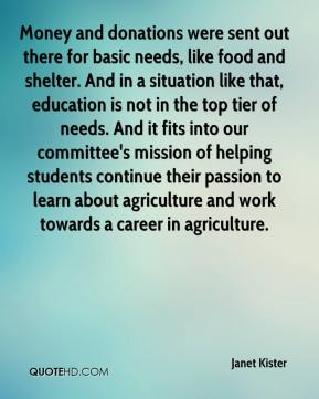 Janet Kister  - Money and donations were sent out there for basic needs, like food and shelter. And in a situation like that, education is not in the top tier of needs. And it fits into our committee's mission of helping students continue their passion to learn about agriculture and work towards a career in agriculture.